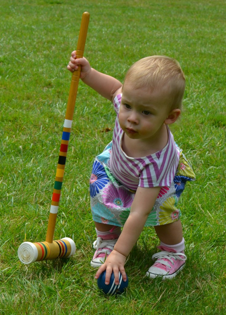 Croquet at Renton's Riverview Park; showing off my granddaughter